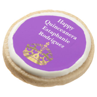 Personalized Quinceanera and gold crown Round Premium Shortbread Cookie