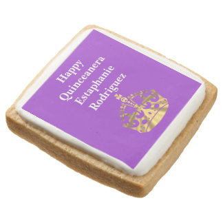 Personalized Quinceanera and gold crown Square Shortbread Cookie