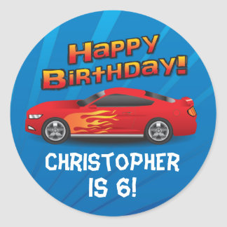 Personalized Race Car Flames Boy's Birthday Party Round Sticker
