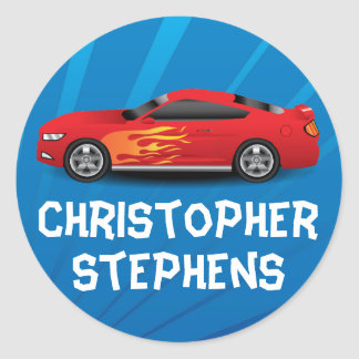 Personalized Race Car Flames Boy's School/Name Classic Round Sticker
