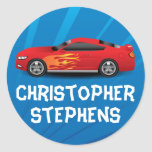 Personalized Race Car Flames Boy's School/Name Round Sticker