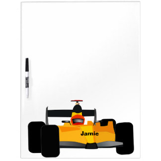 Personalized Race Car Yellow Dagster Dry Erase Board