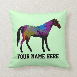 Personalized Race Horse Design On Mint Green Throw Pillow