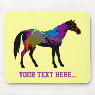 Personalized Race Horse On Yellow Mouse Pad