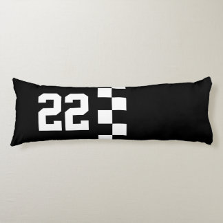 Personalized Racing Flag Black And White Body Pillow