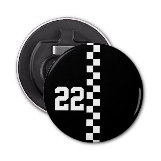 Personalized Racing Flag Black And White Bottle Opener