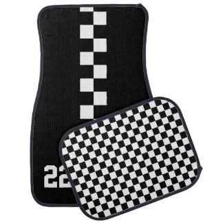 Personalized Racing Flag Black And White Car Floor Mat