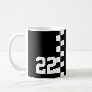 Personalized Racing Flag Black And White Coffee Mug