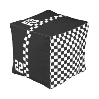 Personalized Racing Flag Black And White Cube Pouf