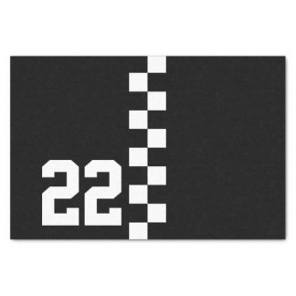 "Personalized Racing Flag Black And White 10"" X 15"" Tissue Paper"