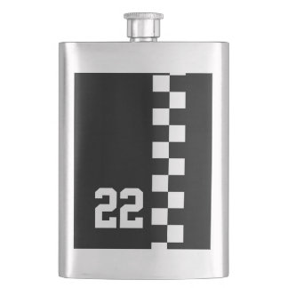 Personalized Racing Flag Black And White Flask