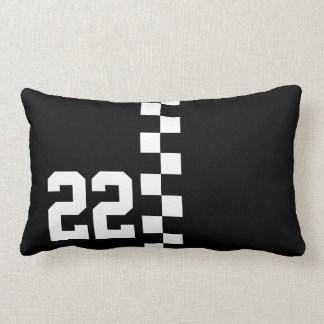 Personalized Racing Flag Black And White Lumbar Pillow