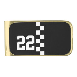 Personalized Racing Flag Black And White Money Clip