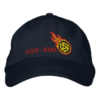 Personalized Racing Flames 45 Spacer Bullet Badge Embroidered Baseball Hat