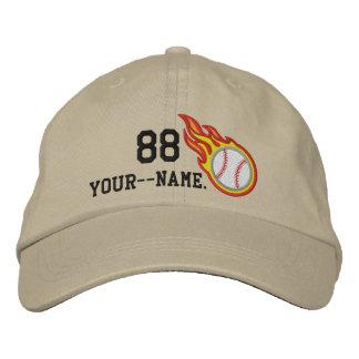 Personalized Racing Flames Baseball Bullet Badge Embroidered Baseball Cap