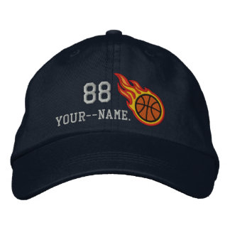 Personalized Racing Flames Basketball Bullet Badge Embroidered Baseball Hat