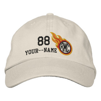 Personalized Racing Flames Bullet Number Name Plus Embroidered Baseball Hat