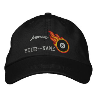 Personalized Racing Flames Eight ball Bullet Badge Cap