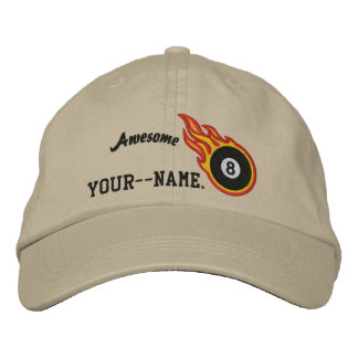 Personalized Racing Flames Eight ball Bullet Badge Embroidered Baseball Hat