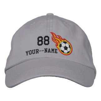 Personalized Racing Flames Soccer Bullet Badge Embroidered Baseball Hat