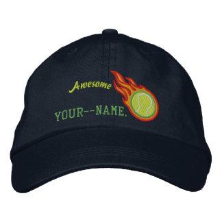 Personalized Racing Flames Tennis Bullet Badge Cap