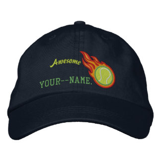 Personalized Racing Flames Tennis Bullet Badge Embroidered Baseball Hat