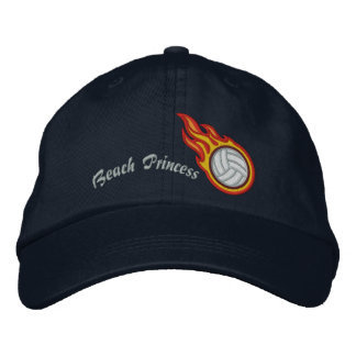 Personalized Racing Flames Volleyball Bullet Badge Cap