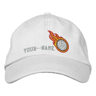 Personalized Racing Flames Volleyball Bullet Badge Embroidered Baseball Cap