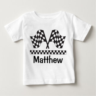 Personalized Racing Rally Flag Baby Tee Shirt Gift