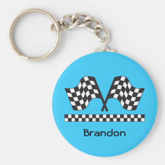 Personalized Racing Rally Flags Gift Basic Round Button Keychain
