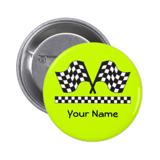 Personalized Racing Rally Flags Gift Button