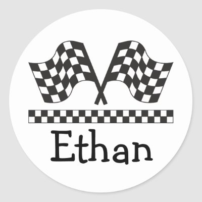 Personalized Racing Rally Flags Gift Round Sticker