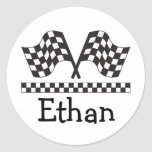 Personalized Racing Rally Flags Gift Classic Round Sticker