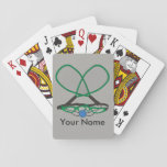 "Personalized Racquetball Playing Cards<br><div class=""desc"">Personalized racquetball design features your name with crossed racquets in green and grey,  eyeguards,  and blue rubber ball. Serve up this plum custom gift for racquetball players.</div>"