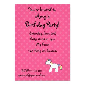 Personalized Rainbow baby unicorn pink polka dots 4.5x6.25 Paper Invitation Card