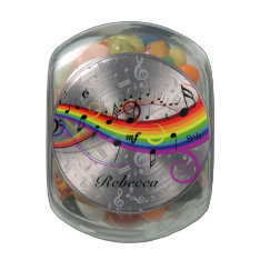 Personalized Rainbow Black Musical Notes On Gray Glass Jar at Zazzle