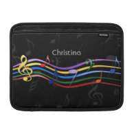 Personalized Rainbow Colored Music Notes Sleeves For MacBook Air