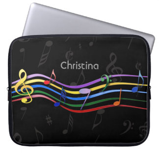 Personalized Rainbow Colored Music Notes Laptop Sleeves