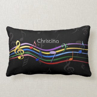 Personalized Rainbow Colored Music Notes Lumbar Pillow