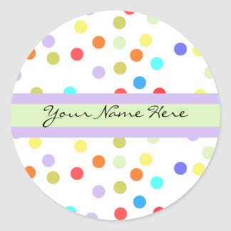 Personalized Rainbow Confetti for Her Classic Round Sticker