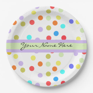 Personalized Rainbow Confetti for Her Paper Plate