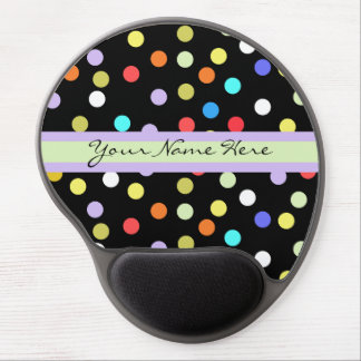 Personalized Rainbow Confetti on Black Gel Mouse Pad