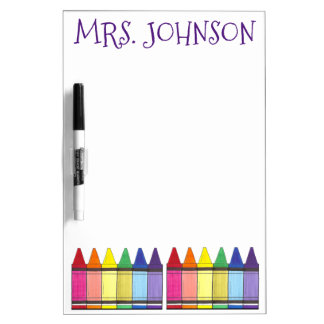 Personalized Rainbow Crayons Art Teacher Gift Dry-Erase Board