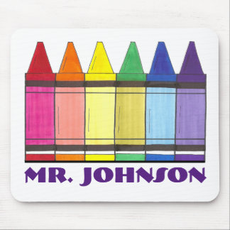 Personalized Rainbow Crayons Art Teacher Mousepad