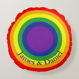 Personalized Rainbow Gay Pride LGBT Flag Round Pillow