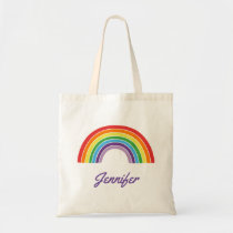 Personalized Rainbow Girls Colorful Custom Cute Tote Bag