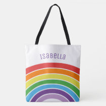 Personalized Rainbow Girls Colorful Custom Trendy Tote Bag