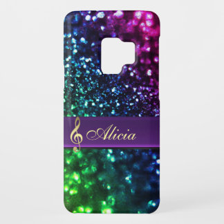 Personalized Rainbow Glitter Music Galaxy S9 Case