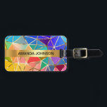 """Personalized Rainbow Golden  Metallic Luggage Bag Tag<br><div class=""""desc"""">Classy mr and mrs or monogram - personalized travel luggage tag. Geometric diamont forms  with script text.  Elegant gift idea for newly wed couple on honeymoon.  Stylish accessory for bags and suitcases</div>"""