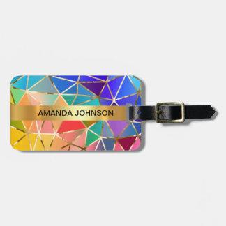 Personalized Rainbow Golden  Metallic Luggage Bag Tag